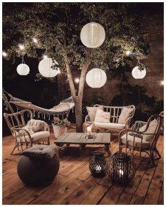 نور شب در دکوراسیون باغچه