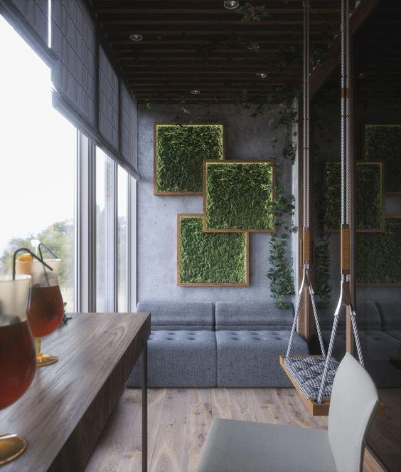 گل و گیاه دیواری دکوراسیون تراس و بالکن
